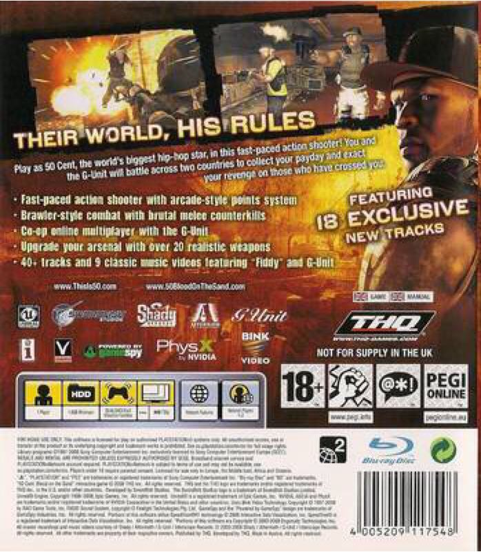 50 Cent Blood On The Sand Video Game Ps3 Japan From Sort It Apps