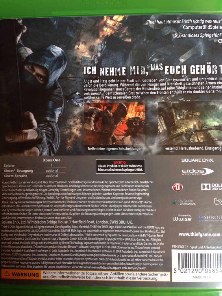 Xbox One Game Cover Back Thief Video Game - Xbo...
