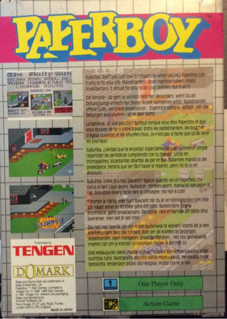 Paperboy Video Game - Sega Game Gear (UK) - from Sort It Apps