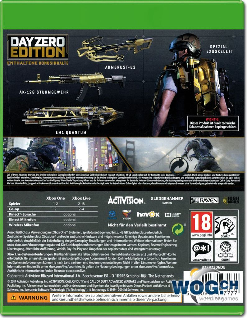Xbox One Game Cover Back Call Of Duty: Advanced...