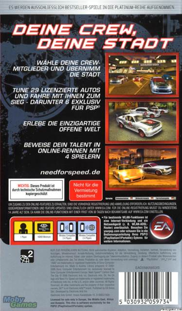 Need For Speed Carbon Own The City Video Game Psp Italy