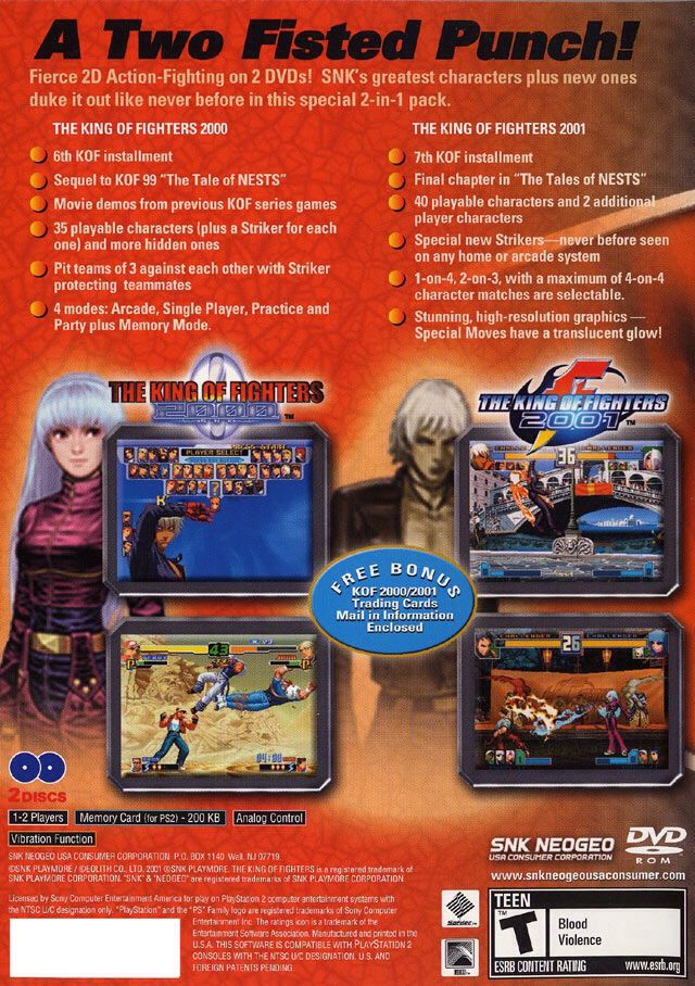 The King Of Fighters 2000 2001 Video Game Ps2 Usa From Sort