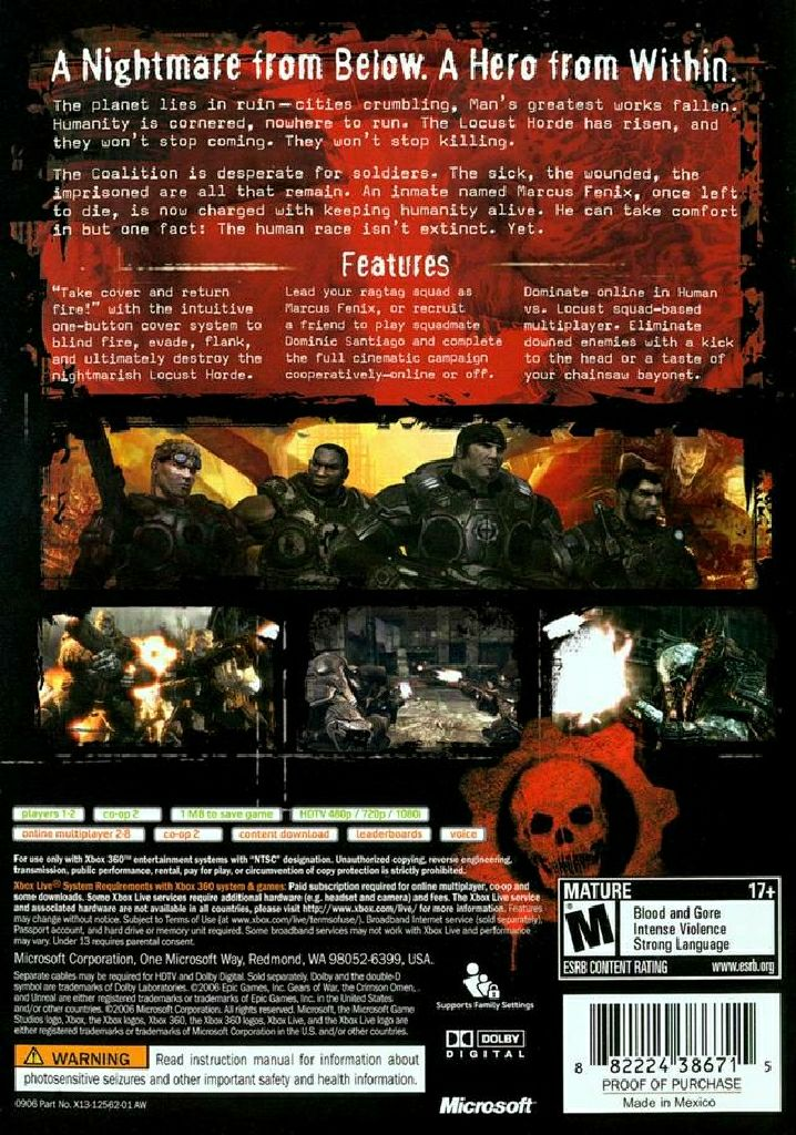Gears Of War Video Game - Xbox 360 (France) back image (back cover, second image)