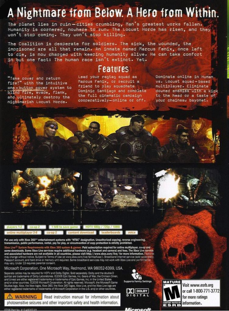Gears Of War Video Game - Xbox 360 (Brazil) back image (back cover, second image)