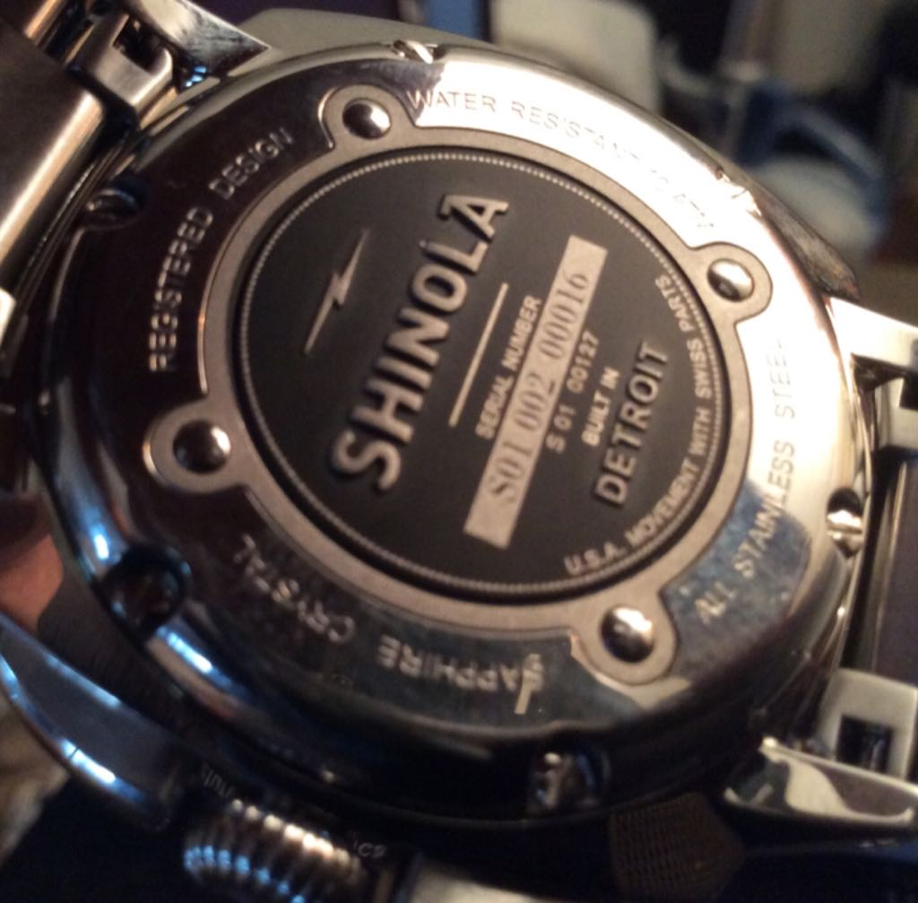 Shinola Watch - Shinola (Brakeman, Blue Face Chronograph) back image (back cover, second image)