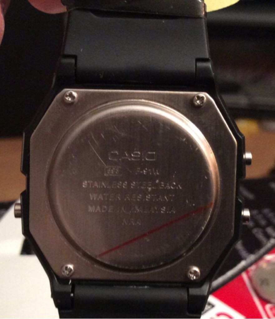 CASIO F-91W Watch - Casio (EDB-610) back image (back cover, second image)
