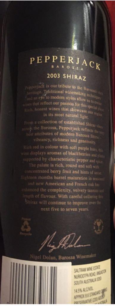Pepperjack Wine - Shiraz (Saltram Wine Estate) back image (back cover, second image)