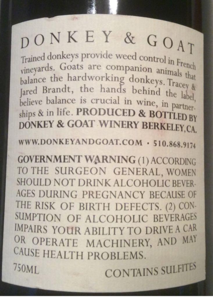 Donkey & Goat Wine - Rousanne (Donkey & Goat) back image (back cover, second image)