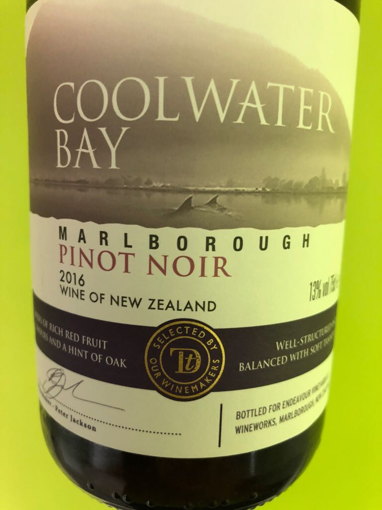Coolwater Bay Pinot Noir Wine - 100% Pinot Noir (Endeavour Vinyards) front image (front cover)