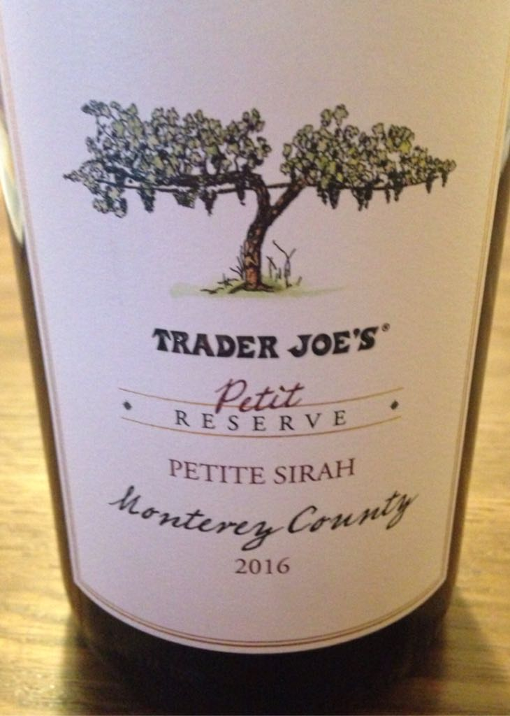 Trader Joes Petite Reserve Wine - Petit Sirah (Trader Joes Petit Reserve Monterey County) front image (front cover)
