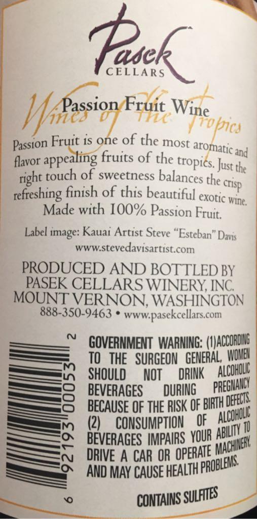 Passion Fruit Wine Wine - White Wine Blend (Pasek Cellars) back image (back & Passion Fruit Wine Wine - White Wine Blend (Pasek Cellars) - from ...