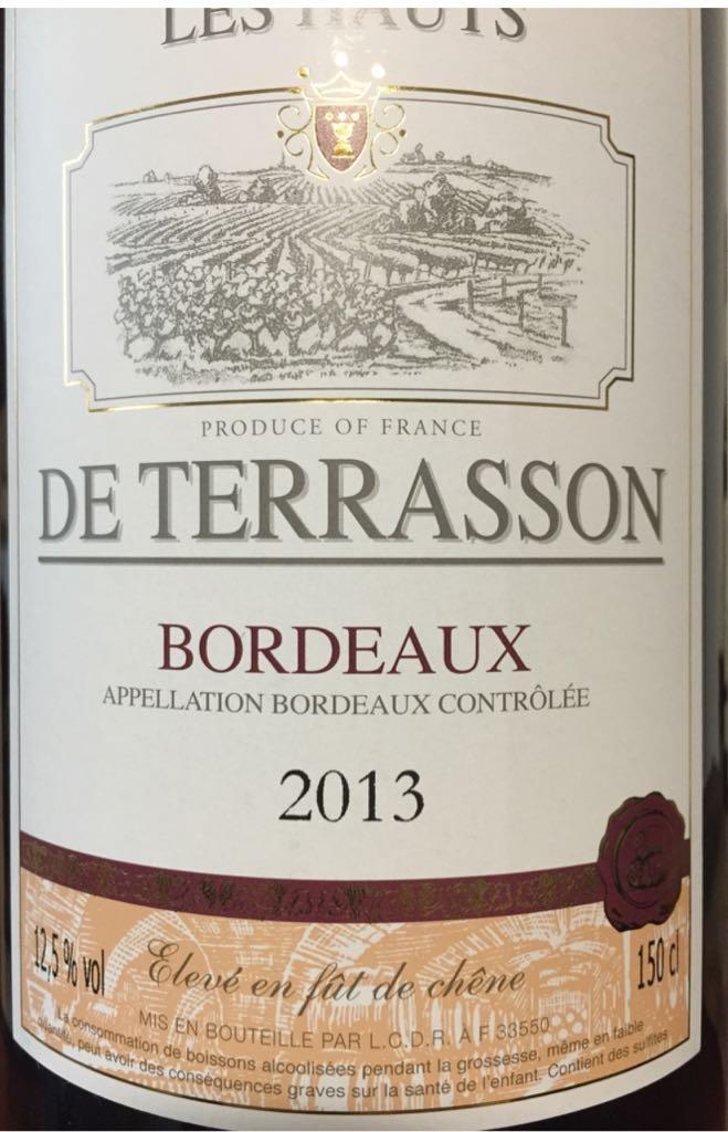 Les Hauts De Terrasson Wine Bordeaux Rouge From Sort