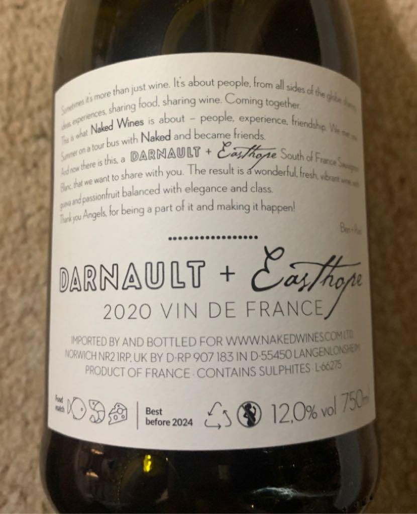 Darnault Wine - White back image (back cover, second image)