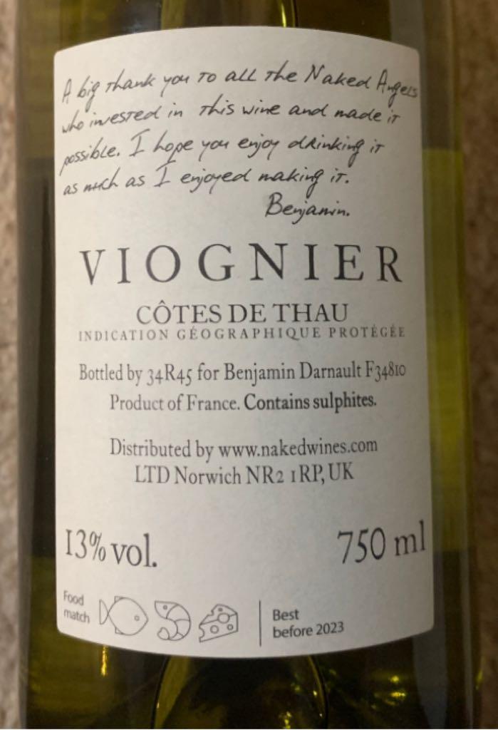 Viognier Wine - White back image (back cover, second image)