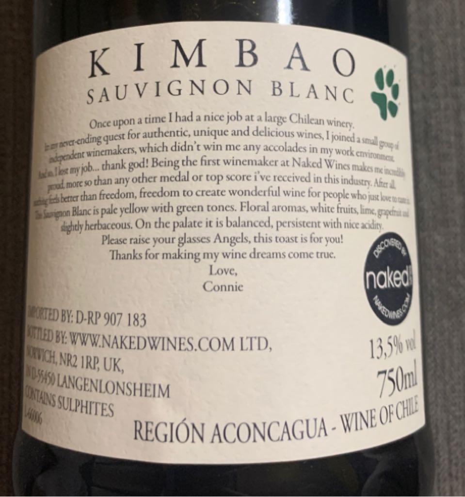 Kimbao Wine - White back image (back cover, second image)