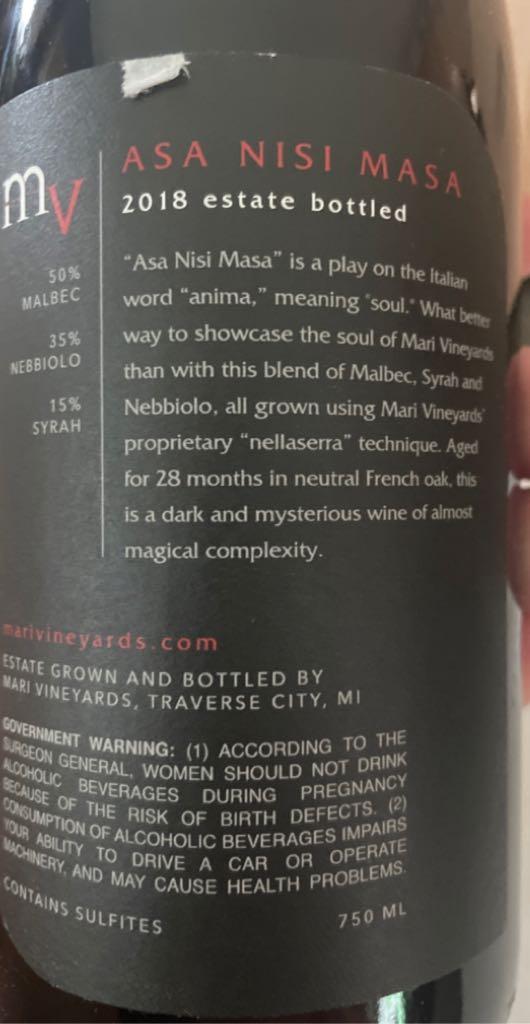 Asa Nisi Masa Wine - Melbec Nebbiolo Strah (Mari Vineyard) back image (back cover, second image)