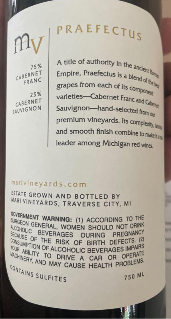 Praefectus Wine - Cab Frank Cab Sauv (Mari Vineyard) back image (back cover, second image)
