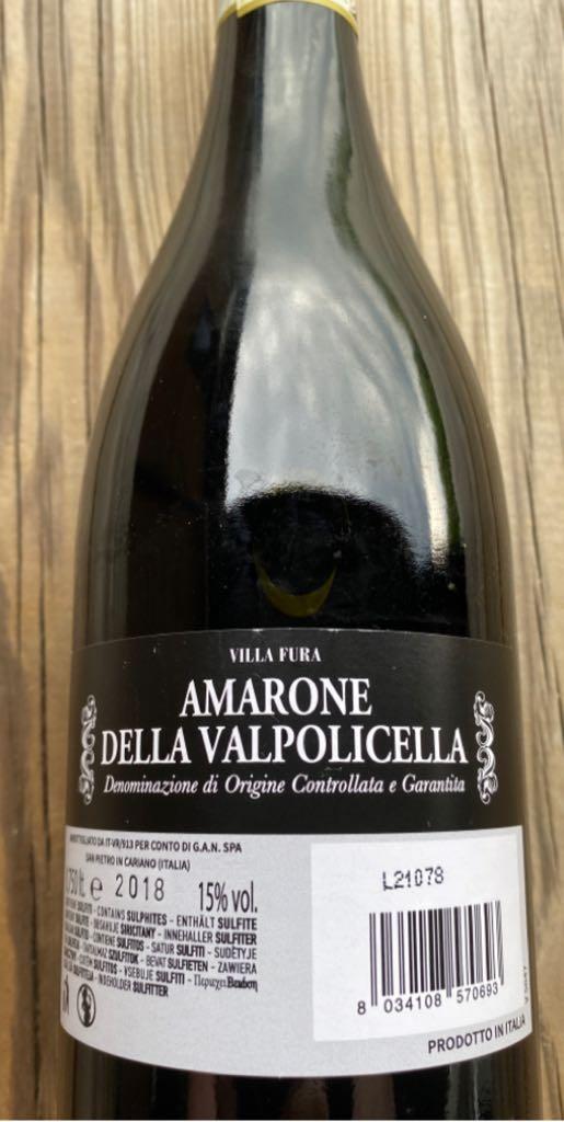 Amarone Della Valpolicella. Wine - Red (Vignaioli de castellana) back image (back cover, second image)
