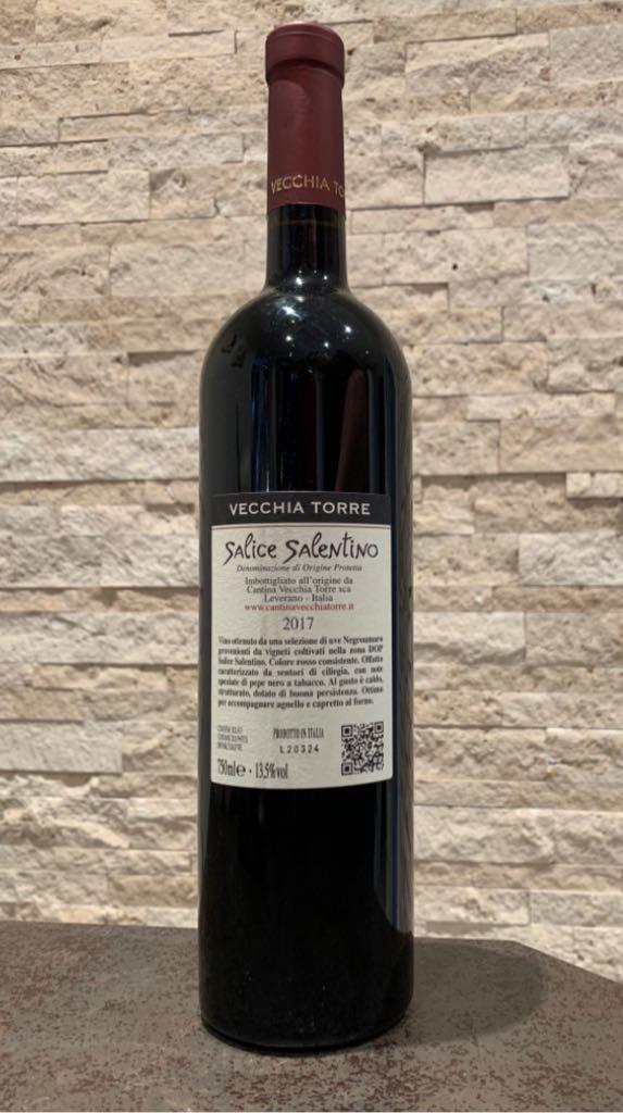 Salice Salentino Wine - Negroamaro (Vecchia Torre) back image (back cover, second image)